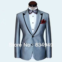 Custom Made Men Suit Silver Mens Wedding Suit Black Double Collar Mens Tuxedos Jacket Pants Tie