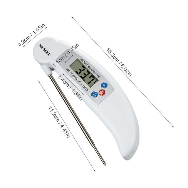 MOSEKO Digital Probe Thermometer Foldable Food BBQ Meat Oven Folding Kitchen Thermometer Cooking Water Oil Tools