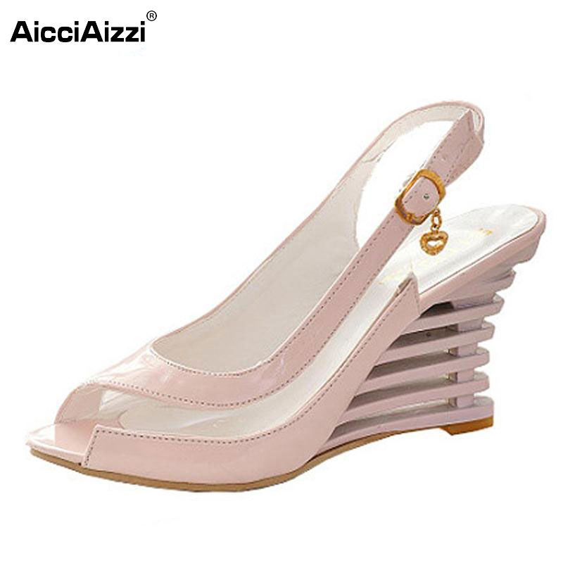 цены women high heel sandals fashion lady dress patent leather wedge brand sexy shoes P3319 Hot sell size 34-39