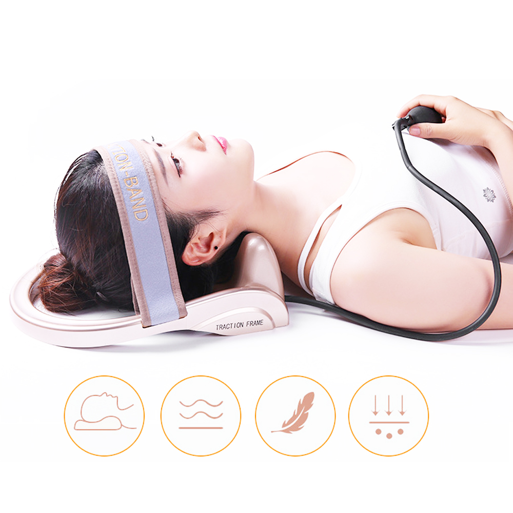 купить Portable pneumatic cervical traction device family health posture pump neck massager spinal traction muscle pain relief недорого