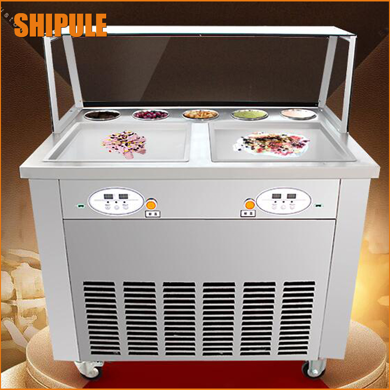 110V ice plate fry ice recipe   hard and soft ice cream machine Thai fried ice cream roll machine  for sale