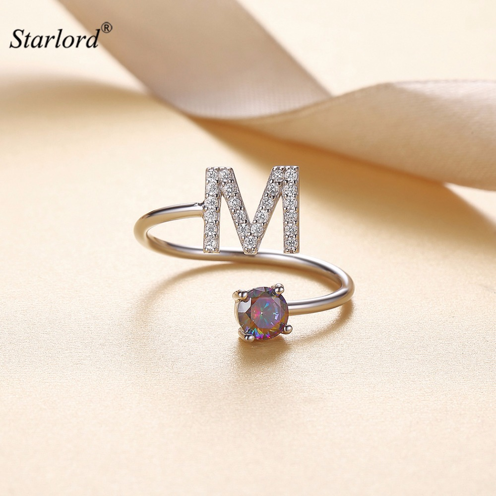 цена на Initial M Letter Ring 925 Sterling Silver Cubic Zirconia Crystal Ring Adjustable Silver Ring Open Ring For Women R6059B