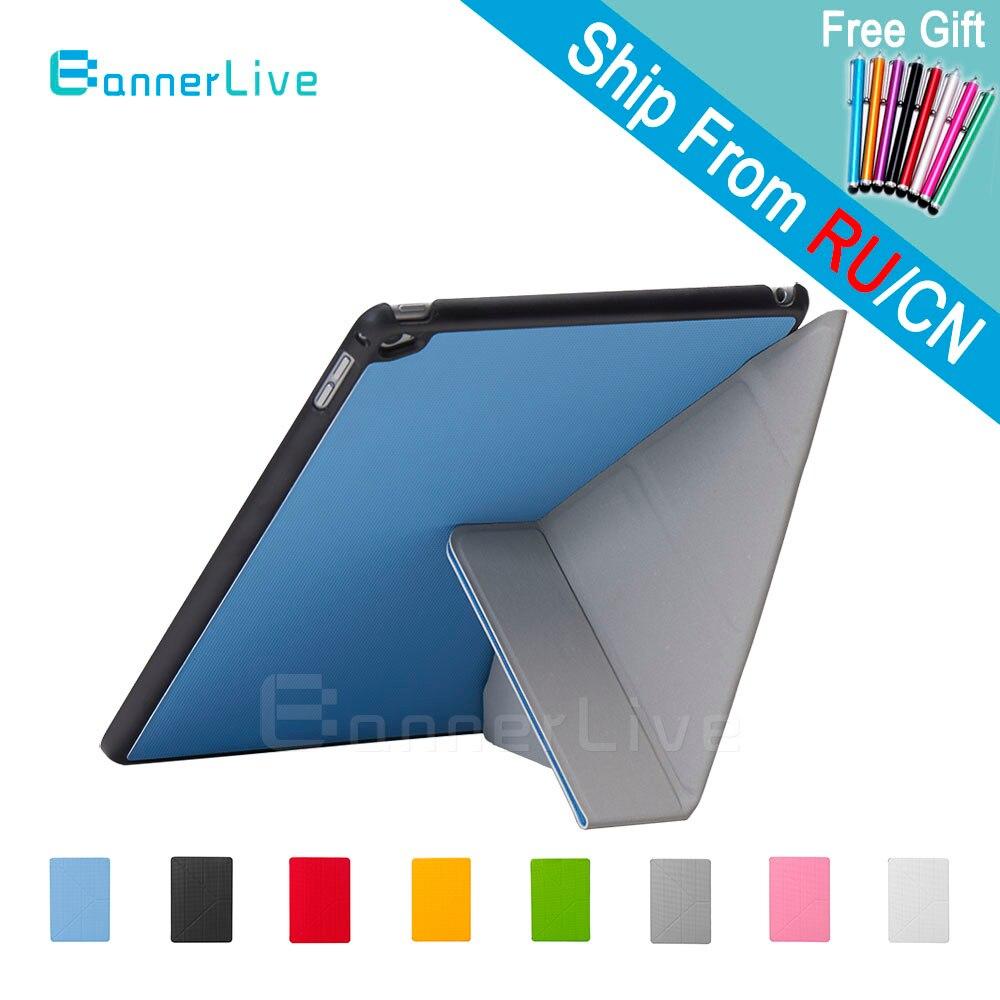 4 formas Smart Cover para el iPad 6 aire 2 Air2 PU cuero diseño SmartCover para iPad6 + Stylus pen Film Protector de pantalla