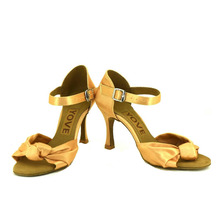 YOVE Dance Shoes Satin Latin/Salsa Dance Shoes Women's Color Contrast Open Toe Vintage 3.5″ Flare Heel w1610-34
