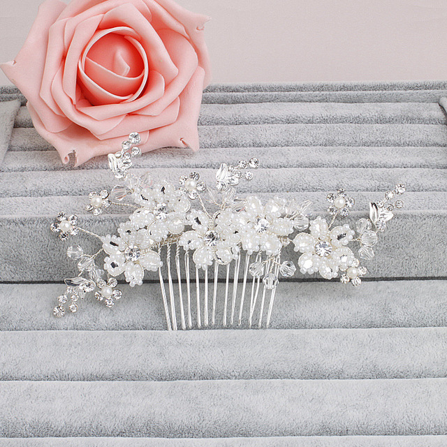 Fashion New Simulated Ivory Pearls Bridal Flower Hair Comb Pin Austrian Crystal Head Piece For Wedding Hair Accessories