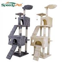 Внутренние поставки 175 см Когтеточка для кошек с Перейти Lladder дом Кот дерево ПЭТ мебели деревом игрушки для домашних животных