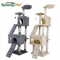 Livraison domestique 175 CM chat griffoir avec saut Lladder maison chat arbre pour animaux de compagnie meubles en bois arbre jouets fournitures pour animaux de compagnie
