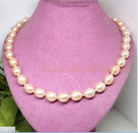 A high luster 11mm 12mm natural pink rice pearl gem necklace 18long fashion jewel