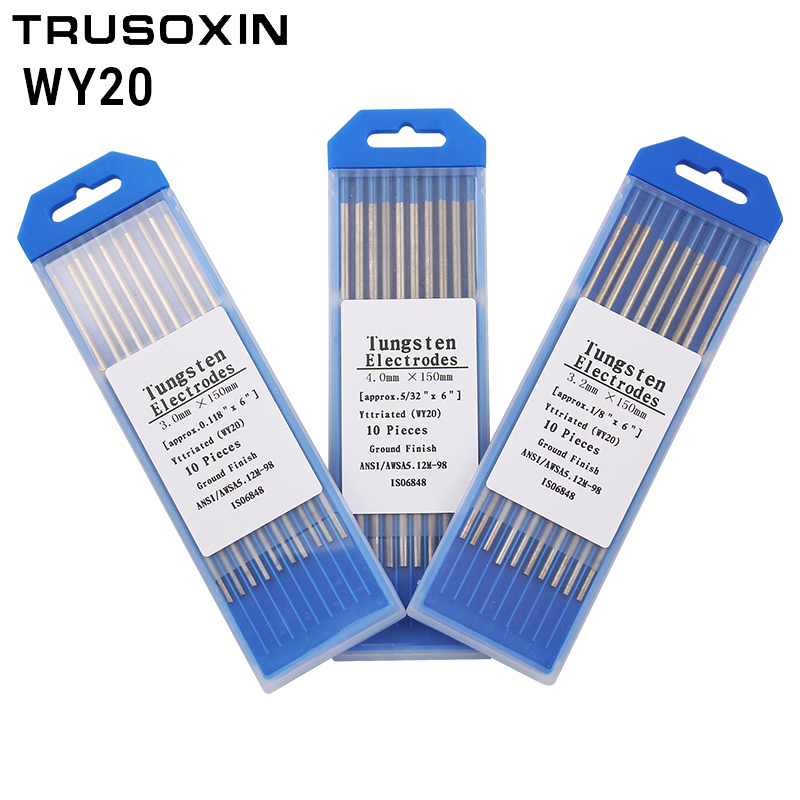 10pcs Blue Color Code 1.6/2.0/2.4/3.0/3.2/4.0MM * 150 Yttriated TIG Tungsten Electrode Head Needle/Rod For TIG Welding Machine