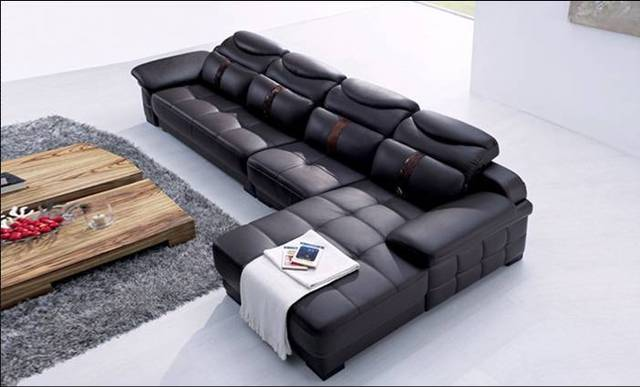 Free Shipping Italy Design Luxury Leather Corner Sofa, Made With Oak Wood  Frame, High