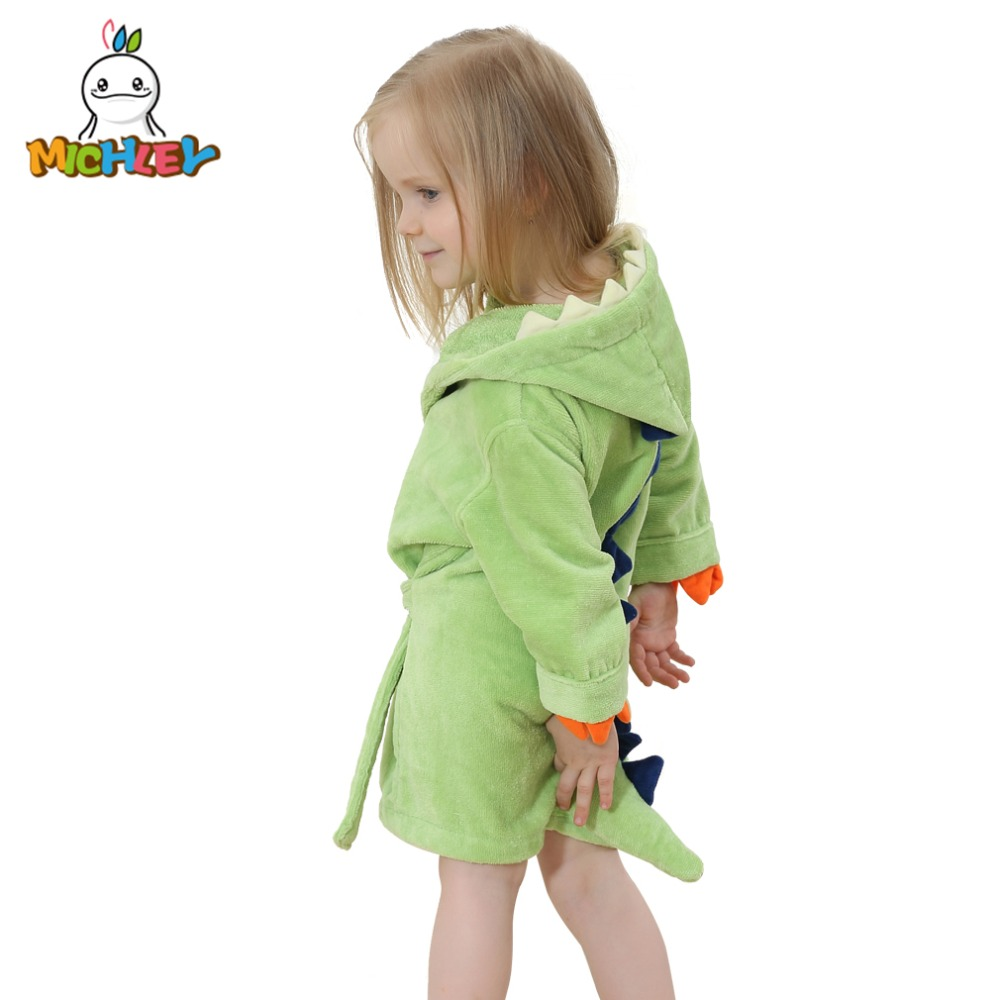 120ceb61f2 MICHLEY Kids Bath robes Adorable Baby Girl Roupao Hooded Children s Towel  Dinosaur Bathrobes Beach Swimwear Boy Pajamas JY0245-in Robes from Mother    Kids ...