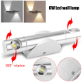 2x3W Epistar Chip 6W Led Wall Lamp Two-way 360 Rotation AC 85-265V Modern Living Background/Bedroom Bedside/Aisle Stairs Light