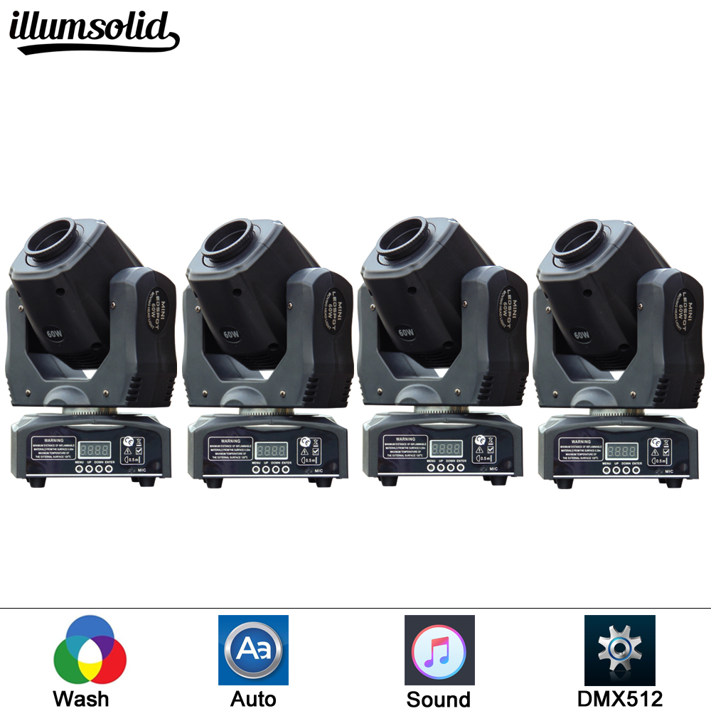 4 pieces lot LED Mini moving head light 60w moving gobo dmx spot led effect