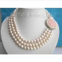 Women Gift word Love Wholesale price new 8 9mm 3row round white freshwater pearls necklace stone c