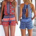 New Arrival Women's Sexy Bohemian Print Halter Neck Backless Sleevelesss Jumpsuit Playsuit