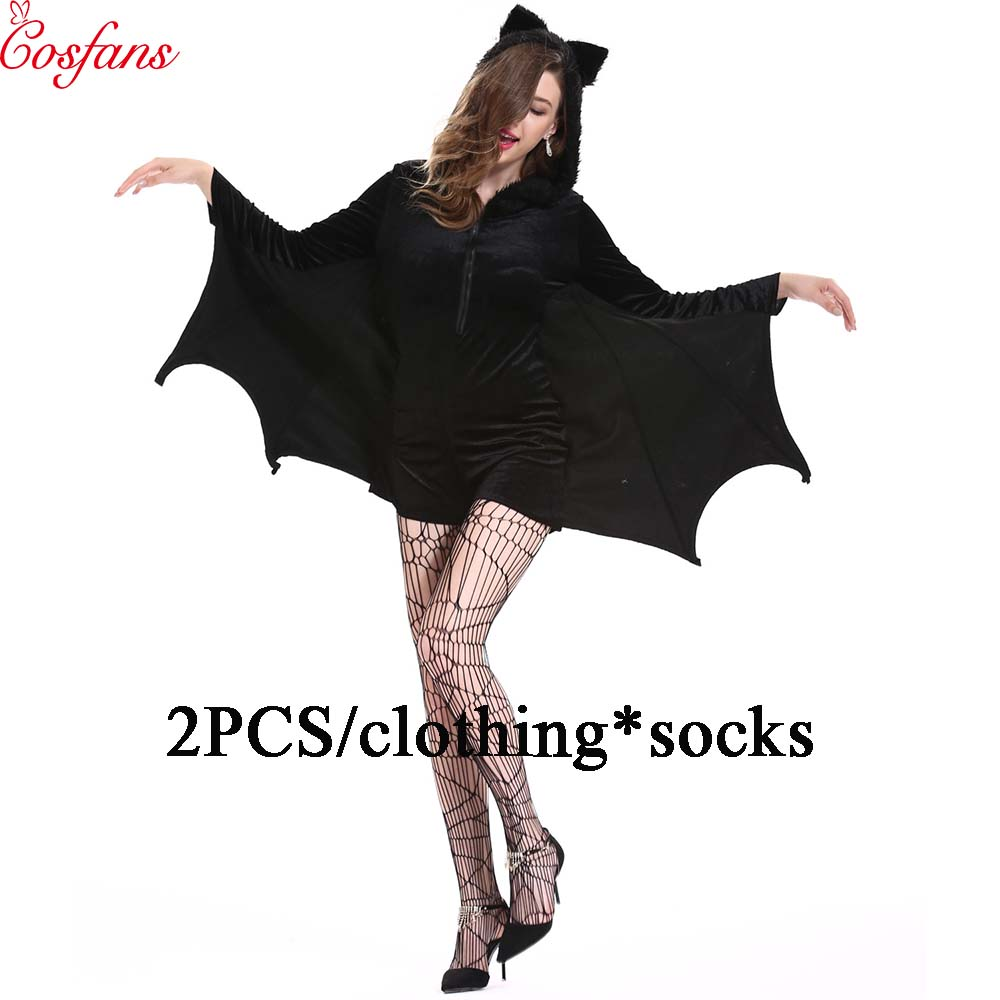 2PCS Halloween female cosplay vampire bat costume party role playing Batman jumpsuit hoodie Bat woman costume Black vampire