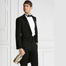 Men's Black men suits tailcoat latest coat and pants design wedding suits tuxedos custom made groom best man suits(jacket+pants)