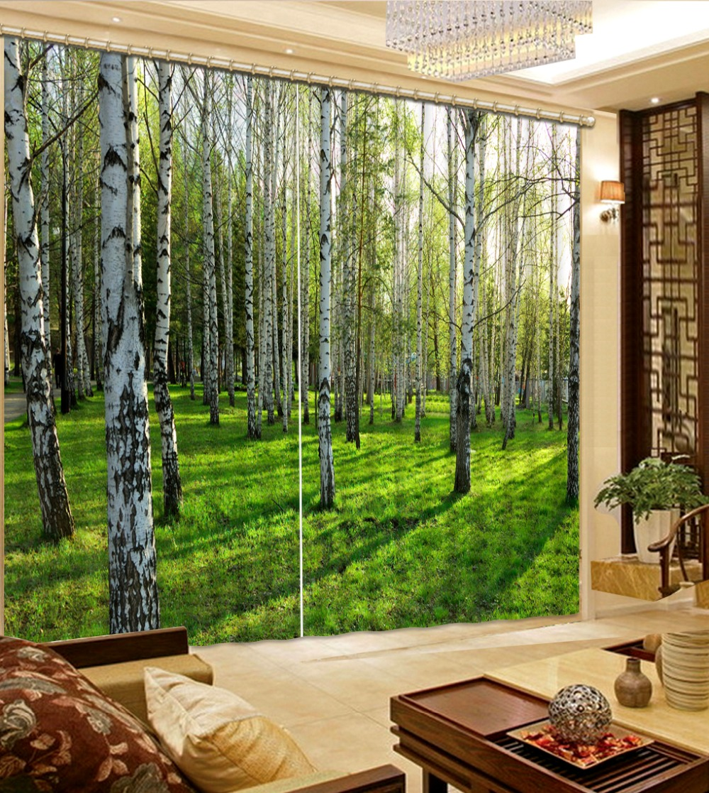 Modern Curtains For Bedroom Us 85 68 49 Off Modern Curtains Tree Forest 3d Curtain For Bedroom Living Room Blackout 3d Window Curtains In Curtains From Home Garden On