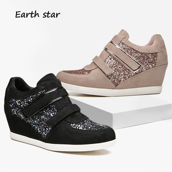 EARTH STAR 2018 Autumn Increasing Shoes Women Brand Platform Sneakers Glitter Lady Breathable footware Female chaussure Sequins