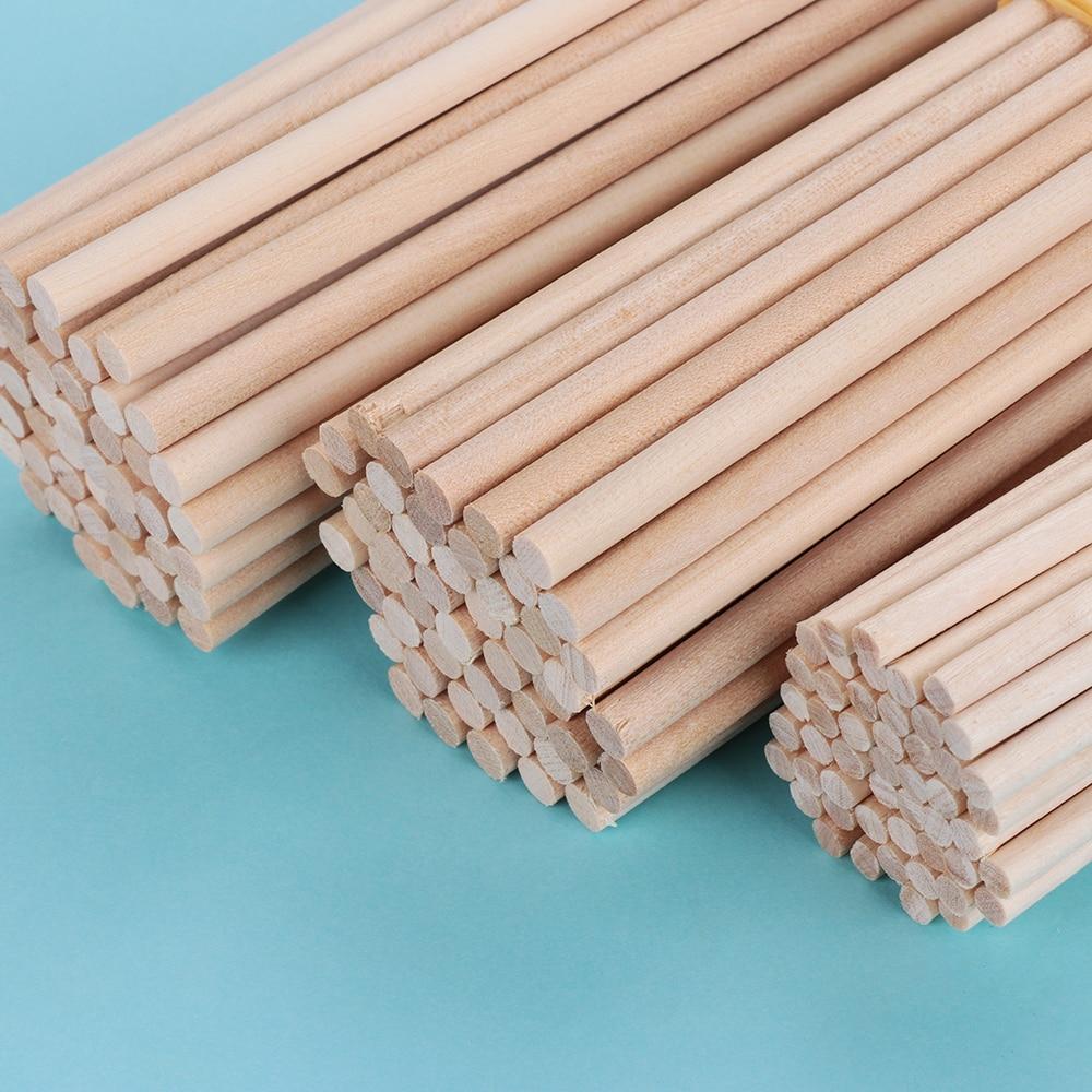 50Pcs Blank Wooden Sticks Round Rods Dowel DIY Crafts Kids Supply 100//150//200mm