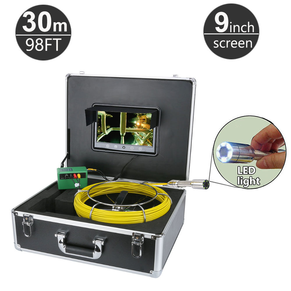 30M/98ft Sewer Pipe Pipeline Drain Inspection System 9 inch LCD Monitor 1000TVL Snake Drain Waterproof Pipe & Wall Video Camera