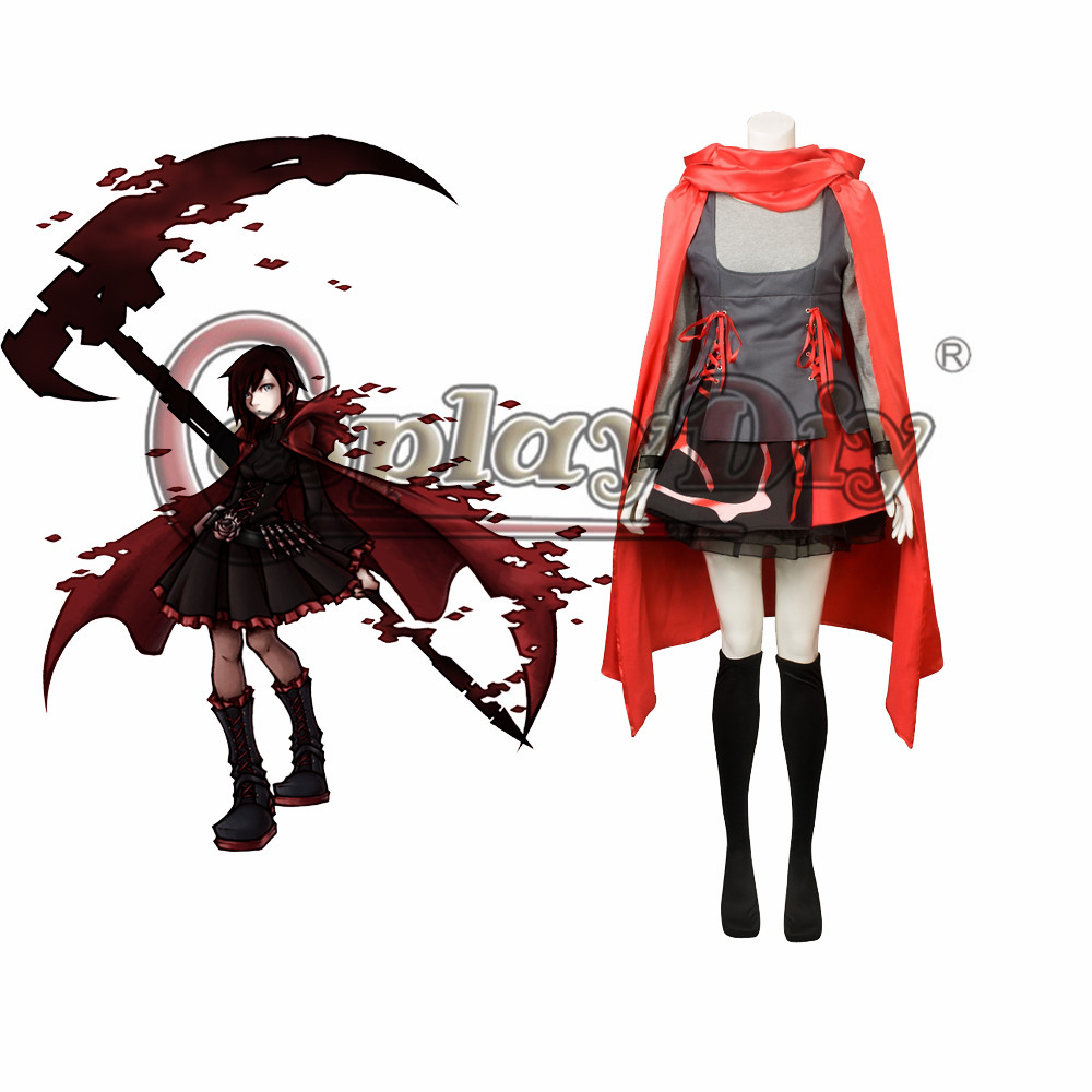 Cosplaydiy RWBY Season 2 RWBY-Red Trailer Ruby Rose Cosplay Costume Adult Women Halloween Cosplay Outfit Custom Made