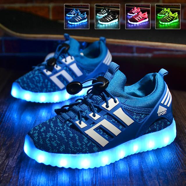 Led shoes para niños kids light up shoes brillante sneakers shoes niños chicos zapatillas de deporte al aire libre con luces intermitentes led