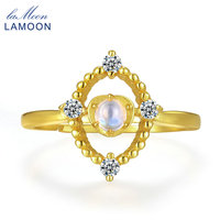 LAMOON 4mm Natural Ligth Blue Moonstone 925 Sterling Silver Jewelry Wedding Ring with For Women LMRI053