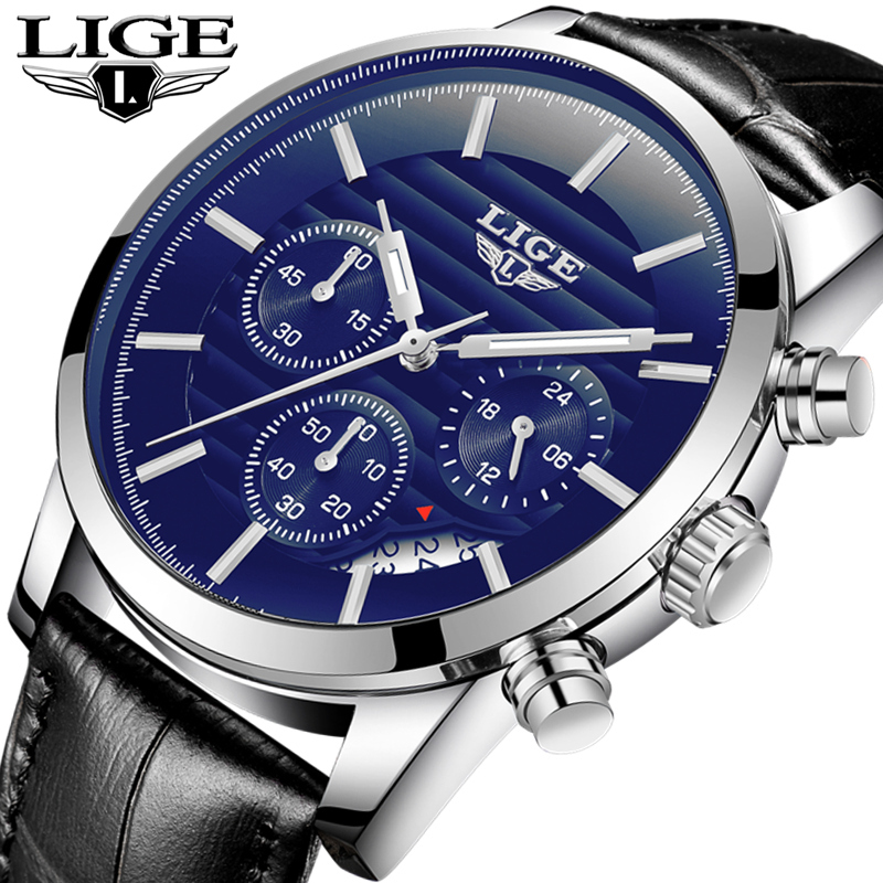 LIGE Fashion Sport Mens Watches Top Brand Luxury Casual Quartz Watch Men Leather Waterproof Business Watches Relogio Masculino mens watch top luxury brand fashion hollow clock male casual sport wristwatch men pirate skull style quartz watch reloj homber