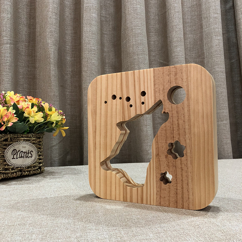 Creative Wolf 3D Wooden Lamp Warm White LED USB Night Light Home Decoration Children Birthday Holiday Christmas Gift W3D-11 icoco usb rechargeable led magnetic foldable wooden book lamp night light desk lamp for christmas gift home decor s m l size