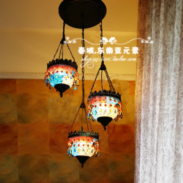 3 Head Bohemia Loft Style Dining Room Light Color Glass Living Room lights Bar/ Cafe Decoration Light AC90 265V Free Shipping-in Ceiling Lights from Lights ... & 3 Head Bohemia Loft Style Dining Room Light Color Glass Living Room ...