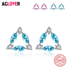 100% Real 925 Sterling Silver Austria AAA Crystal Geometric Triangle Stud Earrings For Women Fashion Brand Jewelry Gift