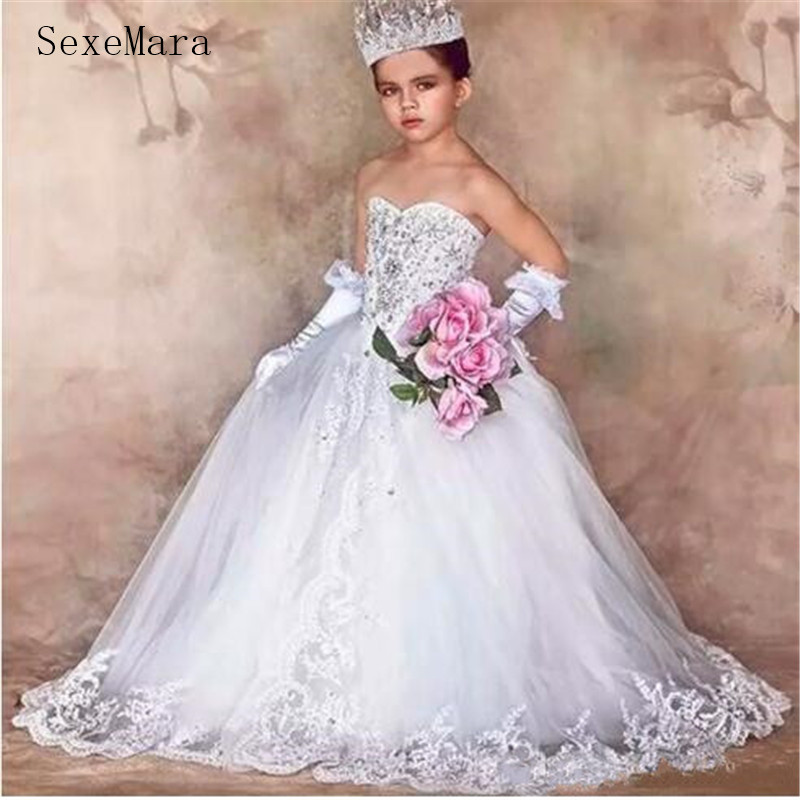 Stunning Luxury Little Flower Girl Dress For Wedding Bling Bling Crystals Beaded Lace Appliques Lace Up Back Lovely Bows