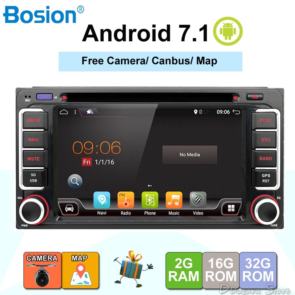 Android 7.1 Quad 4 Core CPU 2 DIN Universal Radio Car DVD GPS stereo For Toyota Corolla Camry Prado RAV4 Hilux VIOS android 7 1 dvd player for toyota universal rav4 corolla vios hilux terios land cruiser 100 prado 4runner dvr bluetooth rear cam