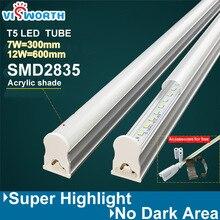 (10 pieces/lot) t5 led tube light 7w 12w led lamp 30cm/60cm smd2835 ac 110v 220v 240v aluminum&pc engineering plastics led light