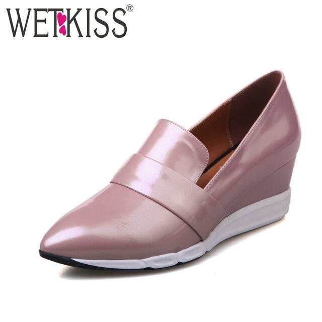 Wetkiss 2017 повседневная женщины насосы клинья туфли на каблуках женщина моды острым носом на высоком каблуке насосы весна твердые платформы женская обувь