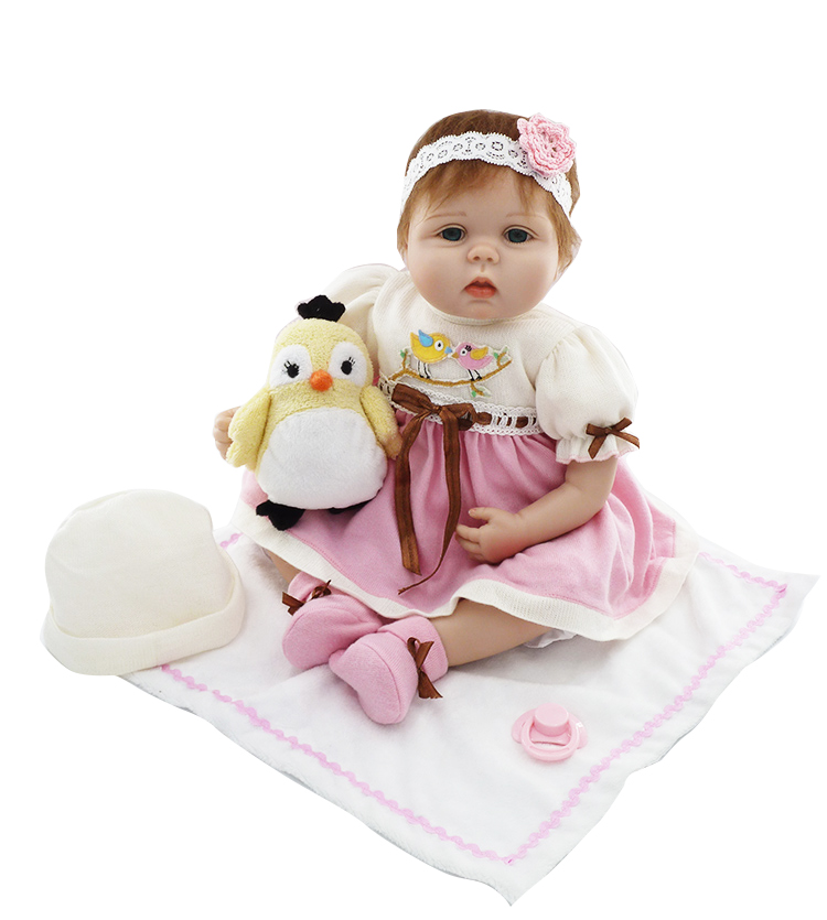 55cm Soft Silicone Reborn Babies Dolls Toy Girls Brinquedos Kids Lovely Birthday Gift Present Newborn Girl Baby Play House Toy 55cm silicone reborn baby dolls toy fot girls kids birthday gift present newborn girl babies princess dolls collectable doll