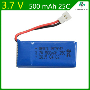 20pcs/lot  3.7V 500mAh 25C 802042 Lipo Battery  for Hubsan X4 H107 H107L H107C H107D RC Quadcopter
