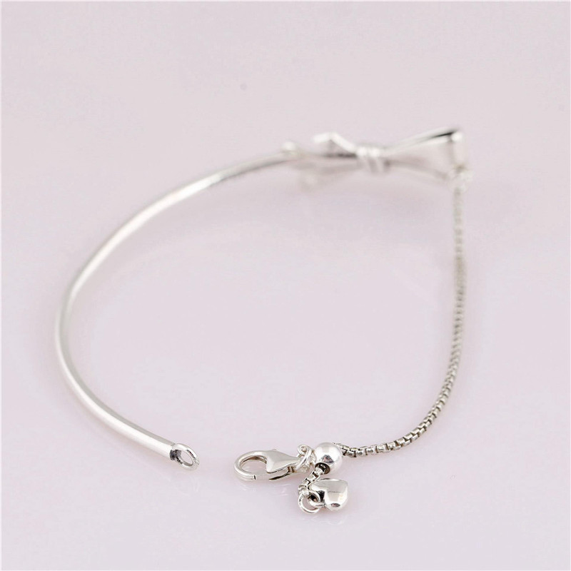 Fashion 100 925 Sterling Silver Bead Charm Bangle Fit Original Branded Brilliant Bow Bracelet For Women EuropeDIY Jewelry Gift in Chain Link Bracelets from Jewelry Accessories