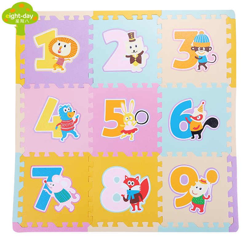 9 шт. Детские Eva встпененная плитка детские головоломки коврик мягкий домашние для пола плитка коврик для детских игр домашний ползающий коврик 30x30 см 9 шт.