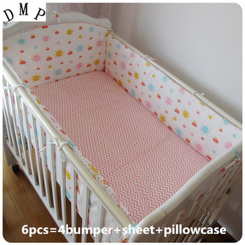 Promotie! 6 STKS Baby beddengoed kit wieg beddengoed set stuk baby bed rond 100% katoenen lakens, (bumpers + sheet + kussen cover)