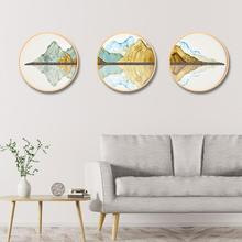 New Chinese style living room landscape painting modern solid wood round mural Background wall porch corridor triple painting цены онлайн