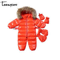 Teenster Baby Winter Snowsuit Infant White Duck Down Coat Raccoon Fur High Quality Girl Boy Clothes Newborn Costume 6 12 18 24 M