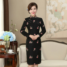 цена на Traditional Chinese Woolen Black Dress Women's  Cheongsam Size M L XL 2XL 3XL