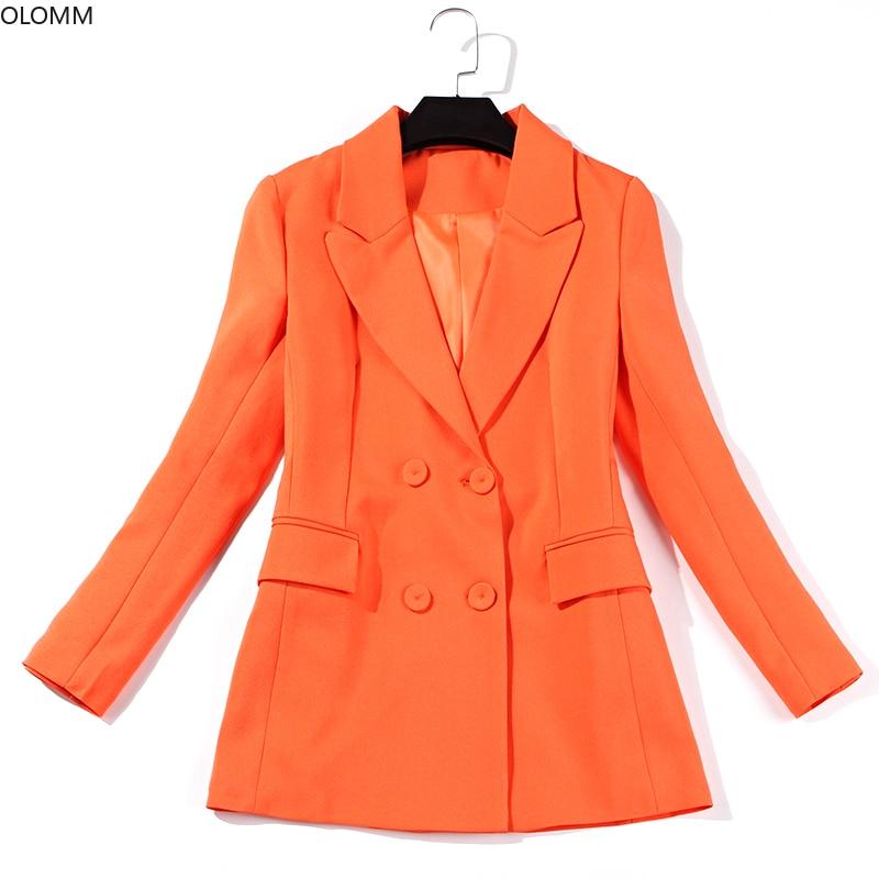 Women's suits 2019 autumn new professional women's British style fashion orange suit jacket wide leg pants trousers two sets