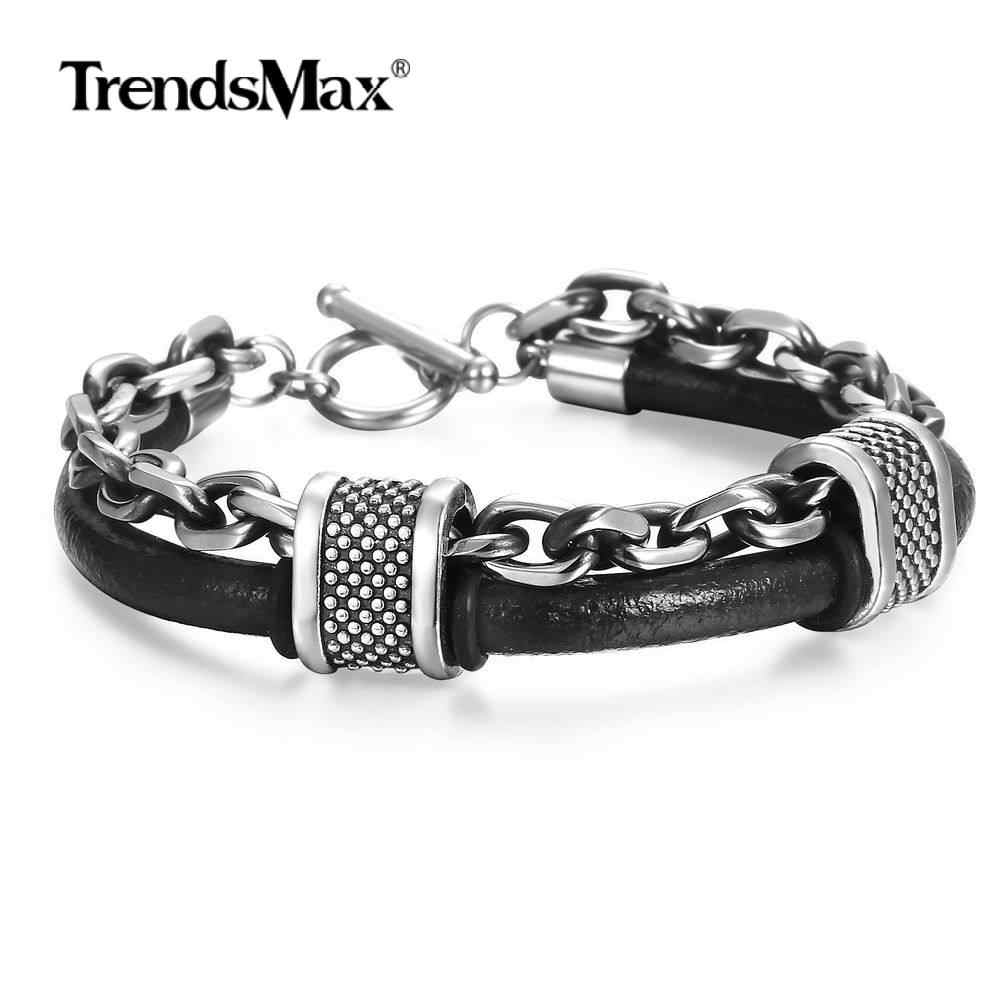 Black Genuine Leather Stainless Steel Cable Link Chain Bracelet Double layer Bangles for Mens Boys Surfer Jewelry Gifts DLB162