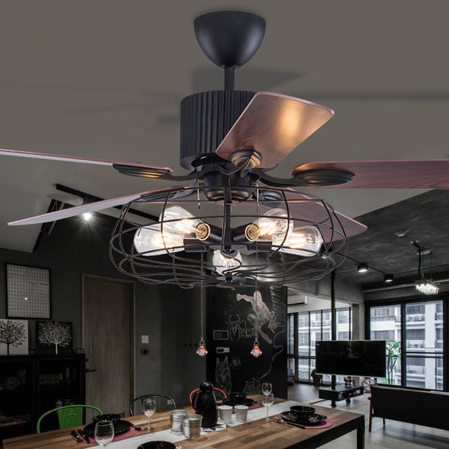Amazing Loft Fan Kronleuchter Retro Esszimmer Haushalt Elektrischen Ventilator  Stumm Led Fernbedienung Blatt Fan Lampe Good Looking