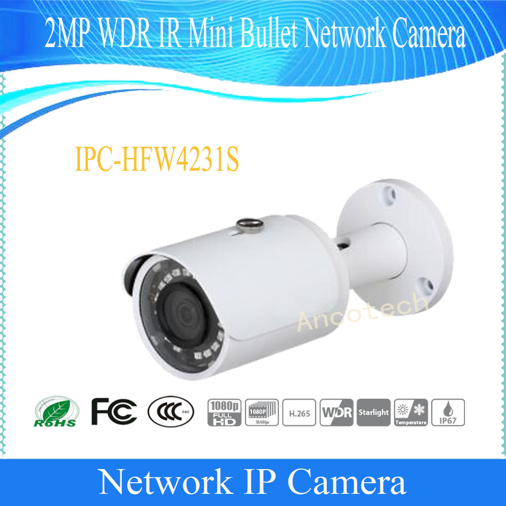 Free Shipping DAHUA NEW Product Security IP Camera 2MP FULL HD WDR IR Mini Bullet Network Camera IP67 Without Logo IPC-HFW4231S free shipping dahua security ip camera 2mp full hd wdr network small ir bullet camera outdoor camera without logo ipc hfw4221e