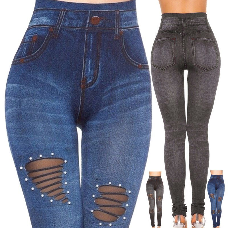 NIBESSER 2019 New Blue Hole Jeans Pancil Pants Women`s Mid High Waist Stretch Denim Jeans Casual Stretch Skinny Trousers Jeans