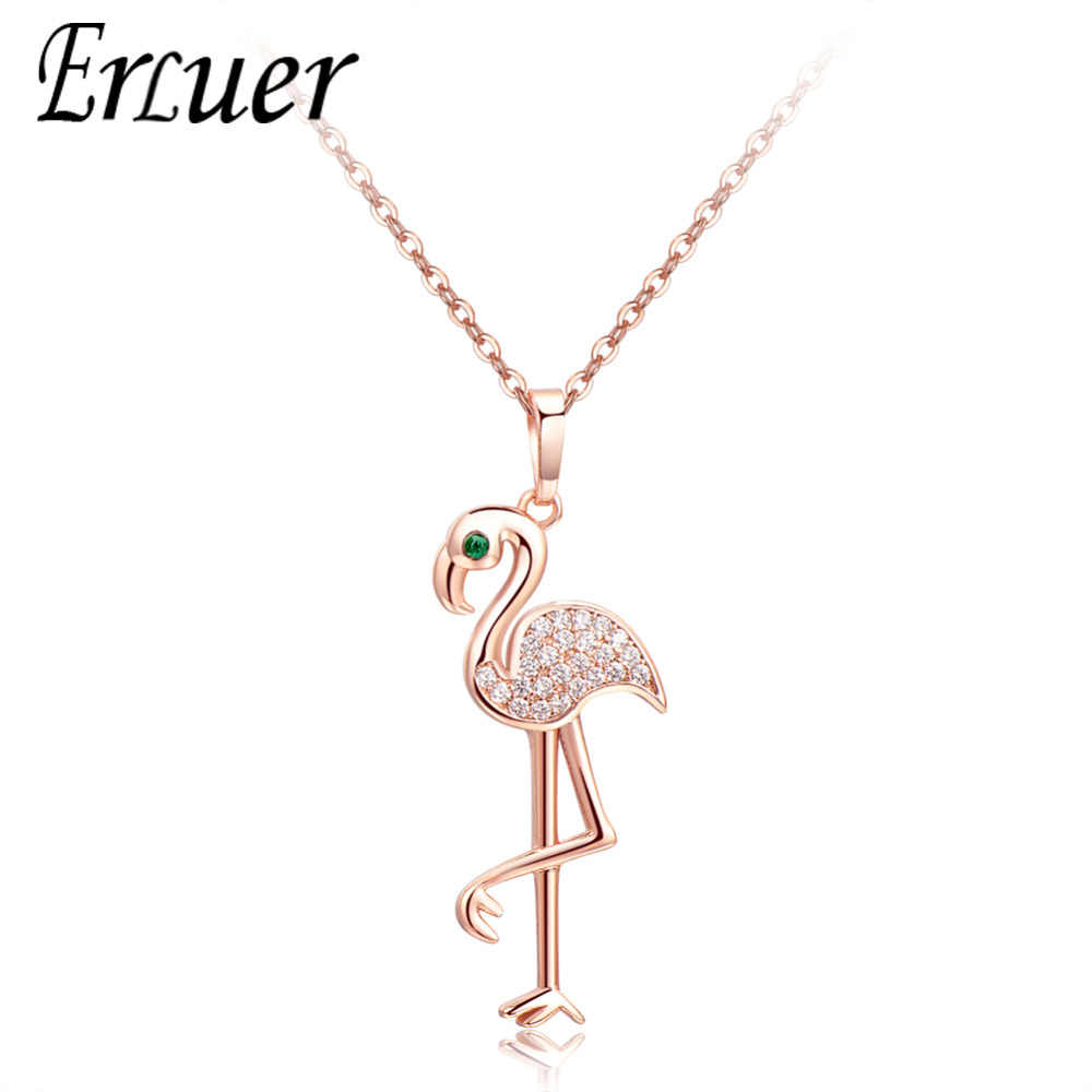 Rose Gold Silver Colors Crystal Zircon Jewelry Charm Necklaces & Choker flamingo Pendants For Women Ladies Girl Lover Gift